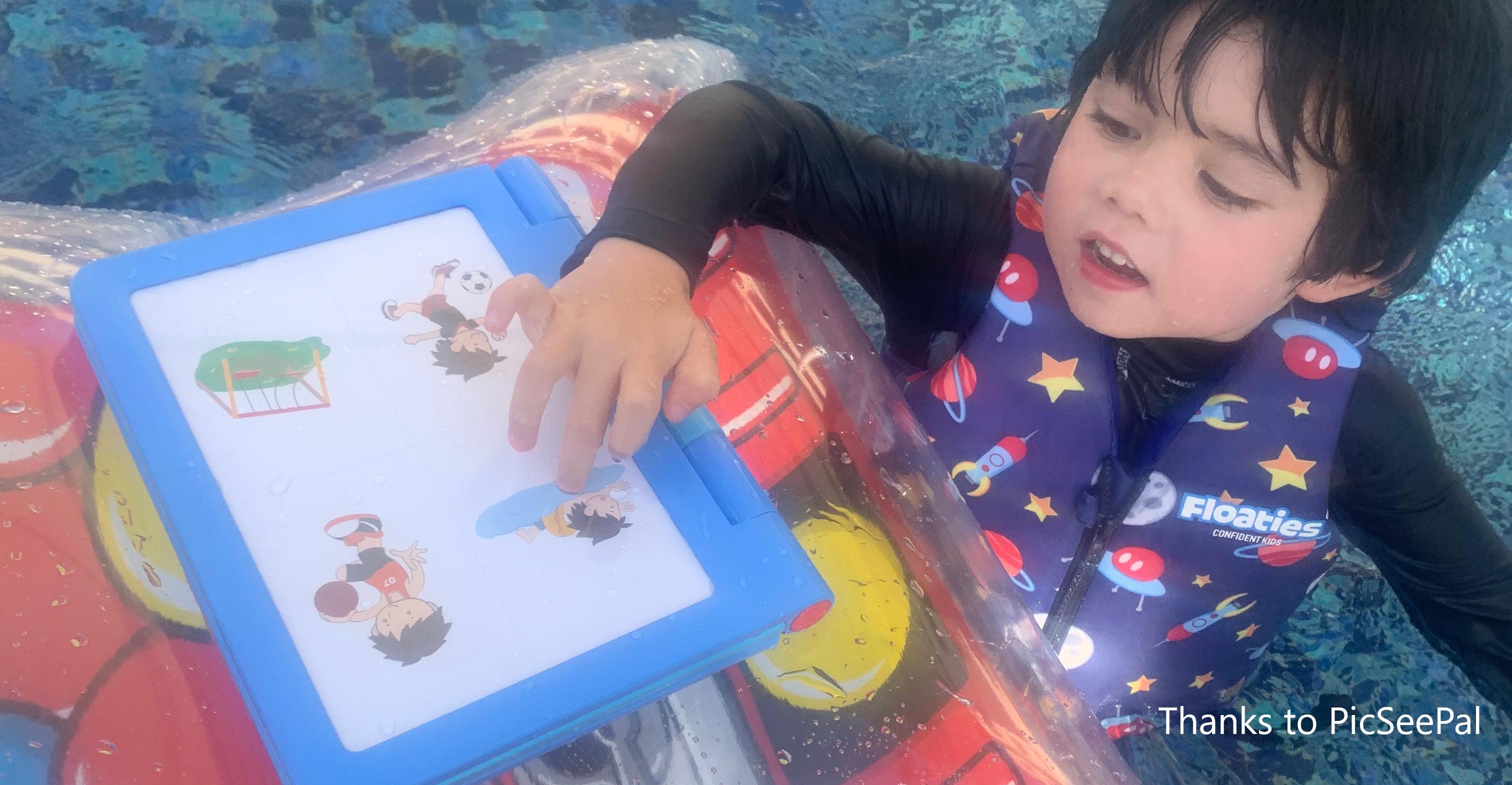boy swimming with symbol chart
