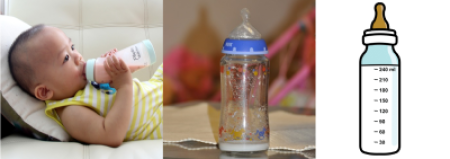 baby with bottle, photo of bottle and symbol