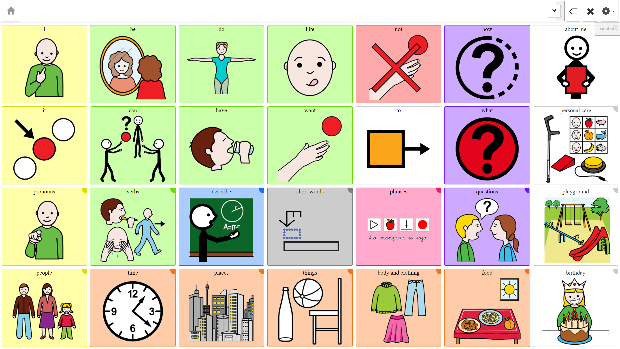 Coughdrop 28 core vocabulary
