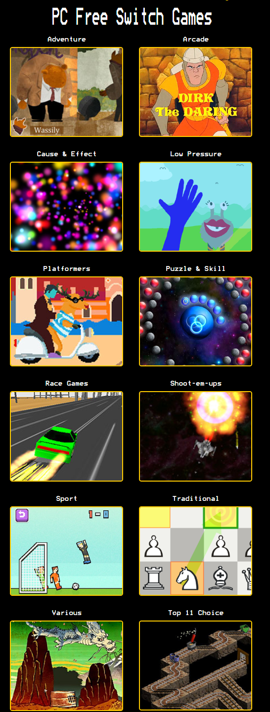 screen grab of switch game categories