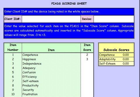 Example of PIADS sheet