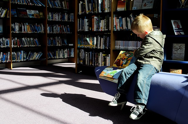 boy in a library