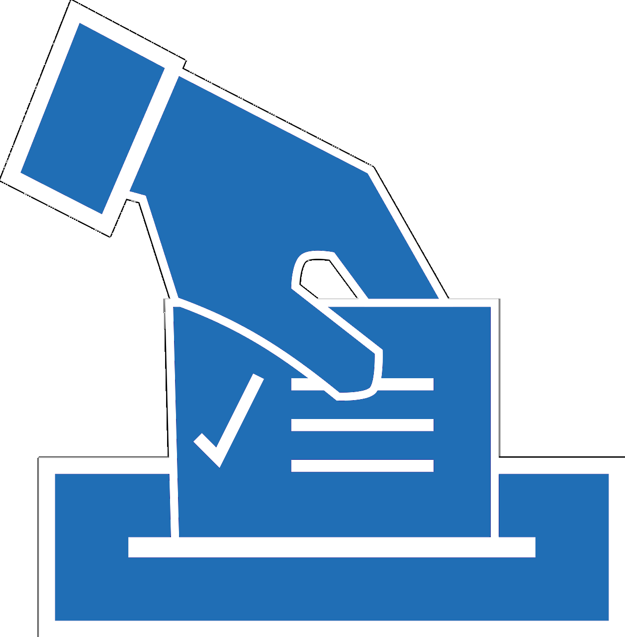 putting a voting card in a box